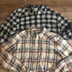 (2) Lucky Brand Western Shirts Pearl Snap Large